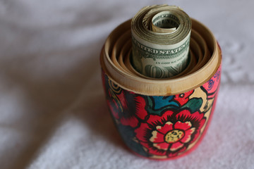 Matryoshka dolls colorful piggy bundle of money