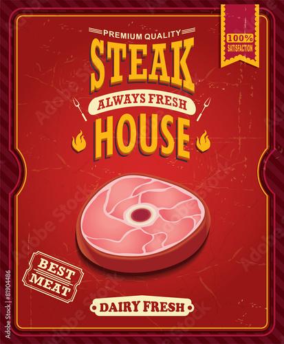 Fototapeta Vintage steak house poster design