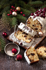 raditional homemade stollen with dried fruits and nuts