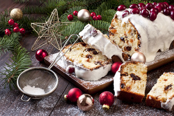 Traditional raisins cake for christmas with decorations