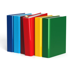 Books row selecting red blank textbook choice