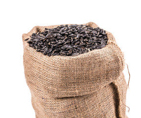 Black sunflower seeds in bag.