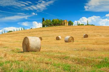 Farmhouse and hay bale in Tuscany,Italy,Europe