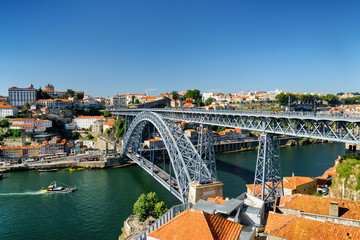 Beautiful view of the Dom Luis Bridge over the Douro River and t