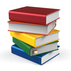 Book stack of books blank covers colorful school textbook