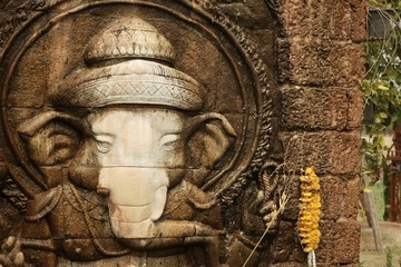 Lord Ganesha is worshiped by the people.