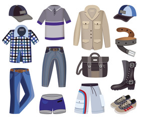 collection of men's clothing (vector illustration)