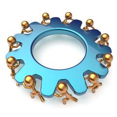 Teamwork community business process mans turning gear