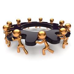 Teamwork business process mans partnership turning gear