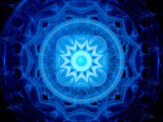 Blue glowing magical space mandala