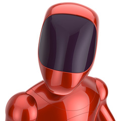 Robot cyborg dummy red futuristic bot spaceman concept