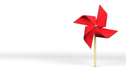 Red Pinwheel On White Text Space
