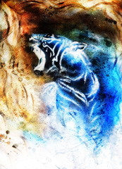 painting abstract tiger collage on color space background, wild
