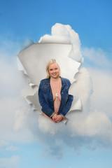 weiblicher Himmelsdurchblick