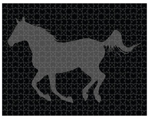 Silhouette of a horse on the puzzle, vector illustration