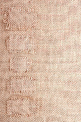 Vertical Burlap Background with Patches