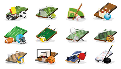 Sport Fileds and Balls Vector Illustrations