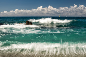 moving effect on sea waves on the shore