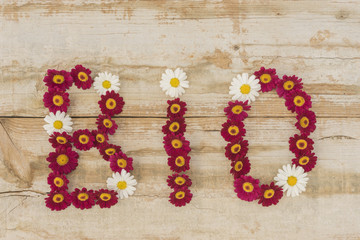 Wort BIO aus Blüten auf Holzhintergrund