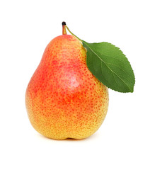 One ripe pear with green leaf (isolated)