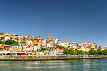Colorful facades of old houses of the historic centre of Porto,