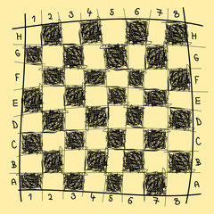 Chessboard freehand drawing, vector illustration