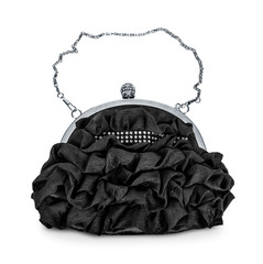 evening black handbag with silver chain isolated on white backgr