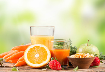 Fresh juice orange and carrot, Healthy drink on wood, breakfast
