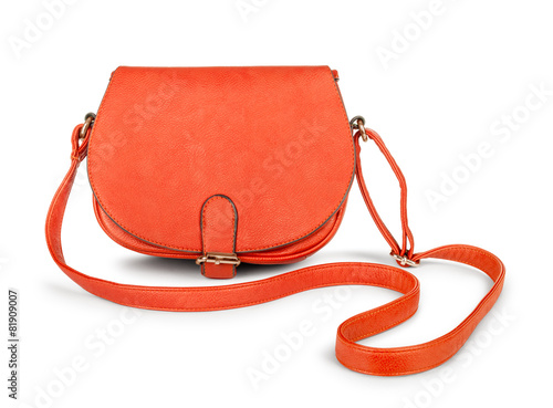 Red female leather bag falls in the air - 81909007