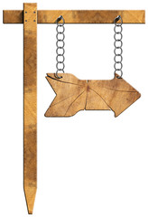 Wooden Directional Sign - One Arrow with Chain