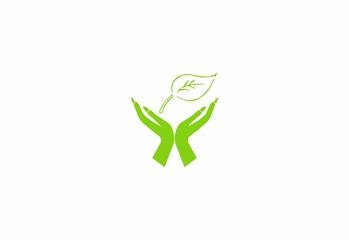 leaf logo hand icon vector