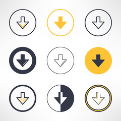 Download icons set in different design. Clean and simple down