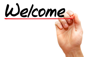 Hand writing Welcome with marker, business concept