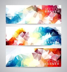 Vector geometric triangles banner background set.