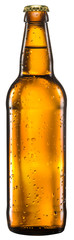 Bottle of beer on white background.