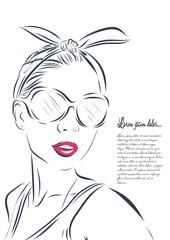 beautiful woman face hand drawn vector illustration.
