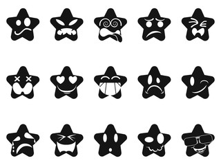 black smileys stars set