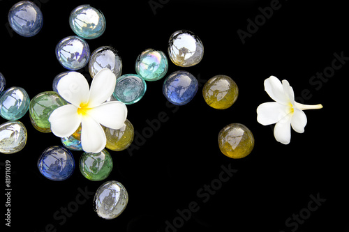 Deurstickers Frangipani Plumeia top view with artificial stone