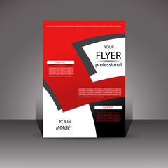 Flyer. Red and black color. Designer cover. Vector.