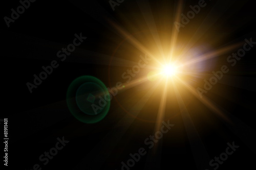 canvas print picture Vector star, sun with lens flare.