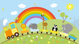 train with animals and hills, rainbow, flowers / vectors