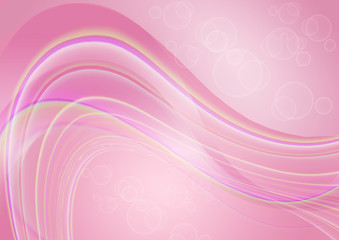 Pink shiny background with transparent waves and circles