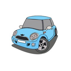 Baby Blue machine. Mini Cooper.