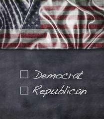 Democrat and Republican sign.