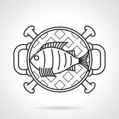 Grilled fish black line vector icon