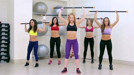 Fitness. Aerobics with body-bar