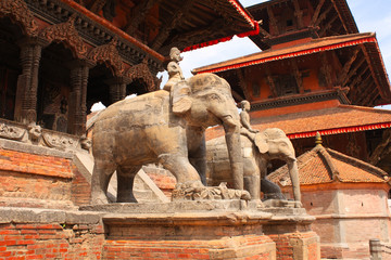 Statues of elephants in Bhaktapur, Kathmandu valley, Nepal