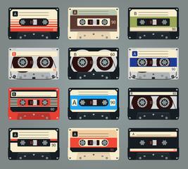 Set of vector retro audio cassettes