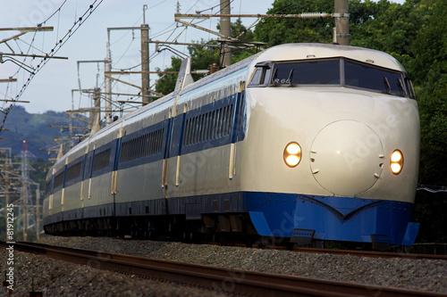 Deurstickers Japan 疾走する0系新幹線