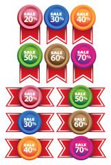 Promotional Sale Labels Ribbons Vector Illustration
